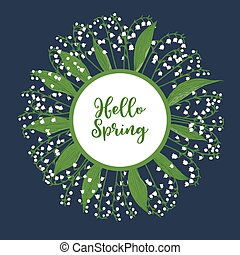 Hello spring greeting card with lily of the valley
