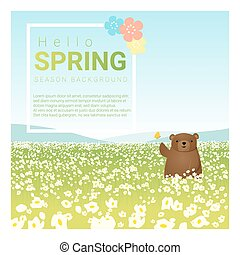 Hello spring landscape background with bear 1