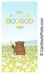 Hello spring landscape background with bear 2