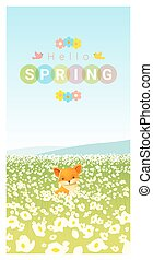 Hello spring landscape background with fox