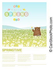 Hello spring landscape background with bear 3