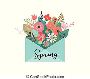 Hello spring, letter envelope with flower bouquet
