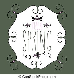 hello spring lettering, handwritten and calligraphy vector illustration