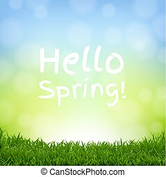 Hello Spring Nature Background With Grass Border