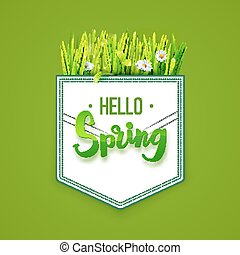 Hello Spring on green background