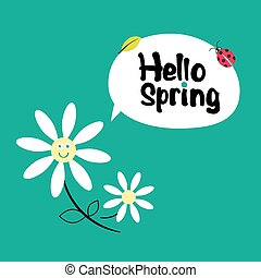Hello Spring. Retro Funky Cartoon with Daisy Flowers, Leaf and Ladybug on Green Background.