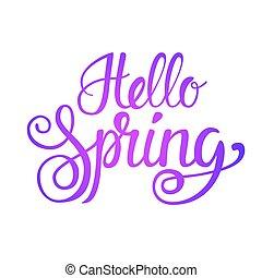 Hello Spring Season Text Banner Over White Background