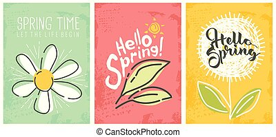 Hello spring seasonal banners collection. Artistic drawing...