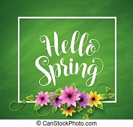 Hello spring vector banner design in green textured background