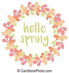 Hello spring vector wreath card