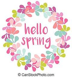 Hello spring  vector wreath