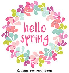 Hello spring  vector wreath