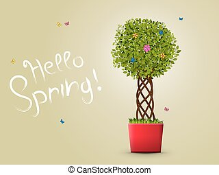 hello spring with tree in a pot