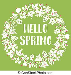 Hello spring wreath vector