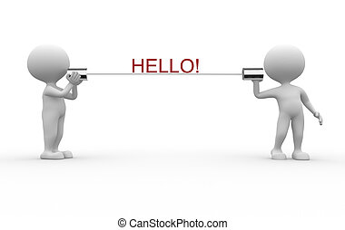 Hello! - 3d people - men, person talking on a homemade can...