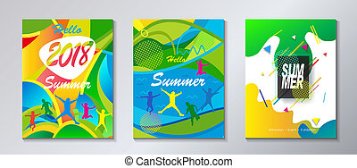 Hello Summer 2018 Festival tropical abstract background -...