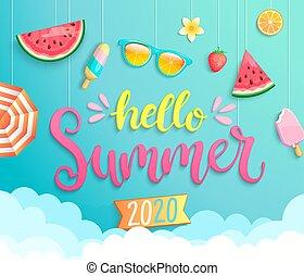 Hello summer 2020 banner wih hot season elements.
