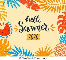 Hello summer 2020 tropical banner.