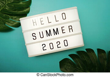 Hello Summer 2020 word in light box