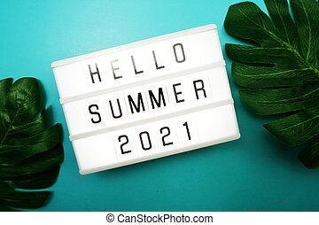 Hello Summer 2021 word in light box