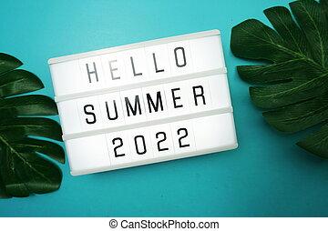 Hello Summer 2022 word in light box