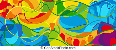 Hello Summer abstract colorful illustration, Olympic and...