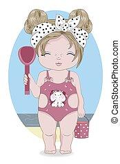 baby girl in Swimsuit