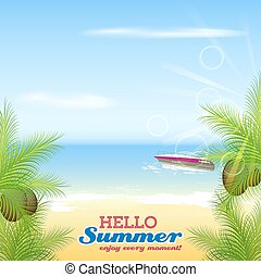 Hello summer background - Hello summer. Motorboat, palms,...