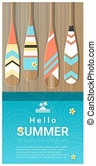 Hello summer background with colorful canoe paddles on wooden pier 2