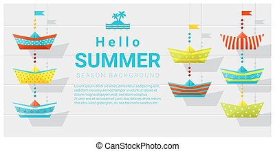 Hello summer background with colorful paper ship 2