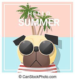 Hello summer background with dog wearing sunglasses 1