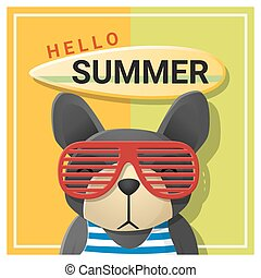 Hello summer background with dog wearing sunglasses 2