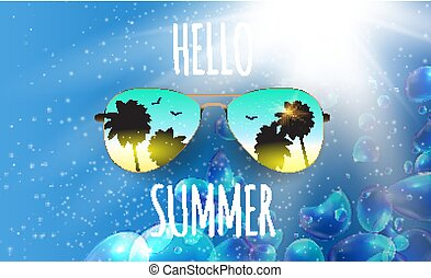 Hello Summer Background with Glass and Palm. Vector Illustration