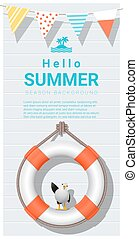 Hello summer background with lifebuoy 2