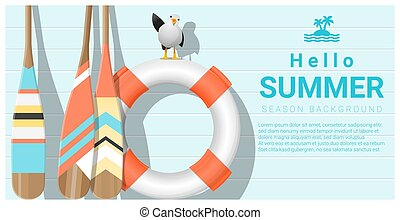 Hello summer background with lifebuoy and canoe paddle 2 - ...