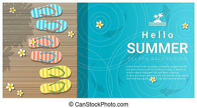 Hello summer background with sandals on wooden pier 2