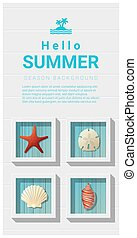 Hello summer background with sea creatures wall art 2