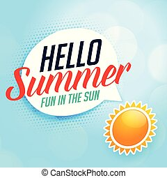 hello summer background with sun