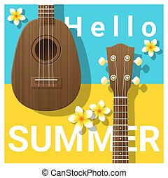 Hello summer background with ukulele 2