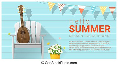 Hello summer background with ukulele on white chair 2