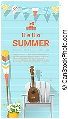Hello summer background with ukulele on white chair and canoe paddle 2