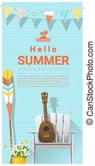 Hello summer background with ukulele on white chair and canoe paddle , vector , illustration