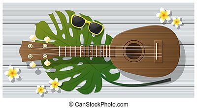Hello summer background with ukulele on wooden board , ...