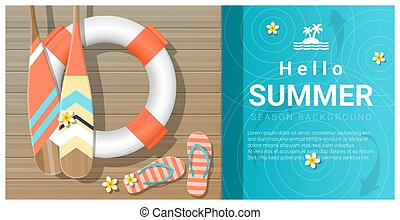Hello summer background with wooden pier over the sea 1
