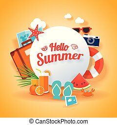 Hello summer banner background template. Vector illustration object sign for season elements beach.