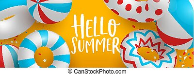 Hello Summer banner of 3d pool party decoration