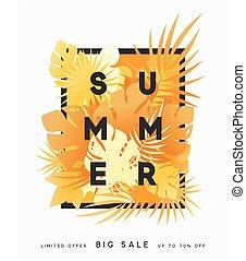 Hello Summer banner tropical background.