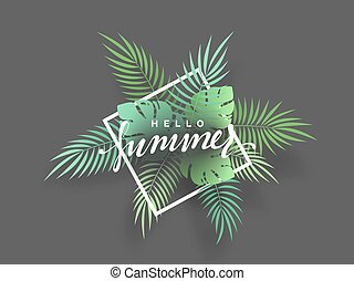 Hello Summer banner tropical background. Summer season,...