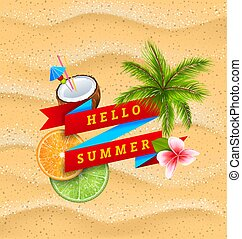 Hello Summer Banner with Flower, Coconut Cocktail, Palm Tree Leaves, Slices of Orange and Lime