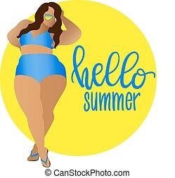 Hello summer. Body positive, curvy girl in bikini. Vector icon plus size woman